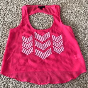 Pink sheer tank top